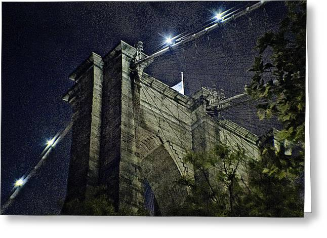 Illuminates Greeting Cards - Brooklyn Bridge Cables Greeting Card by Alex AG
