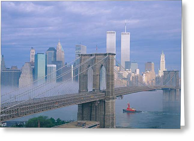 Mid-span Greeting Cards - Brooklyn Bridge, East River, New York Greeting Card by Panoramic Images