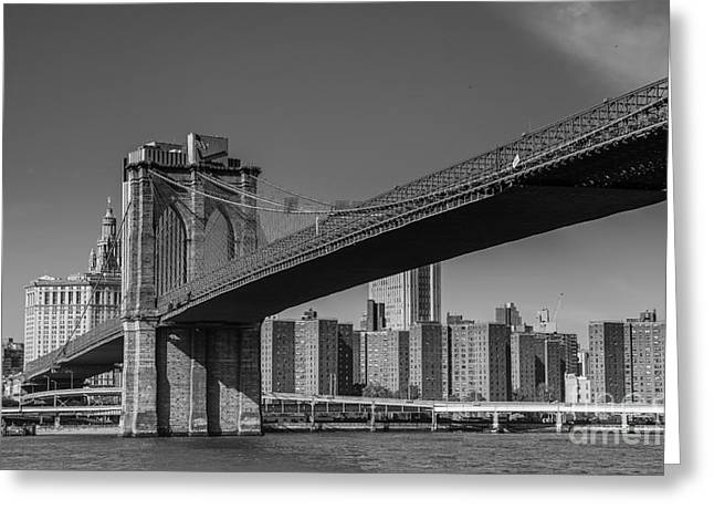 Occasion Greeting Cards - Brooklyn Bridge East River Side Greeting Card by  ILONA ANITA TIGGES - GOETZE  ART and Photography