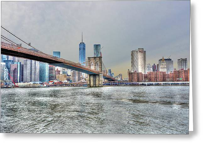 Brooklyn Bridge Park Greeting Cards - Brooklyn Bridge from the East River Greeting Card by Randy Aveille