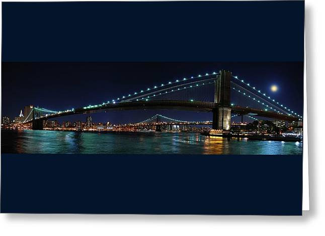 Brooklyn Bridge Full Moon Greeting Card by Movie Poster Prints