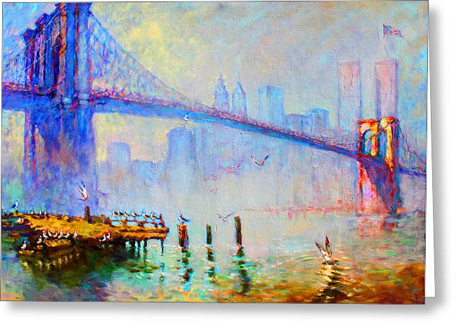 Twin Towers Greeting Cards - Brooklyn Bridge in a Foggy Morning Greeting Card by Ylli Haruni