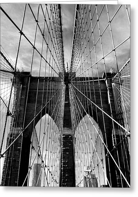 Famous Bridge Greeting Cards - Brooklyn Bridge in Monochrome Greeting Card by Jessica Jenney