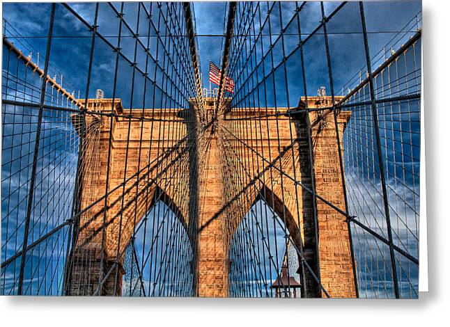 Val Black Russian Tourchin Greeting Cards - Brooklyn Bridge In The Golden Light Greeting Card by Val Black Russian Tourchin