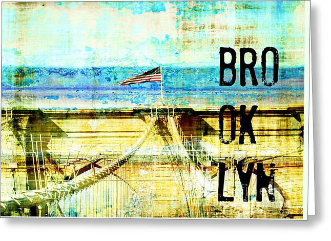 Brooklyn Bridge Mixed Media Greeting Cards - Brooklyn Bridge Industrial Collage and Typography Greeting Card by ArtyZen Studios - ArtyZen Home