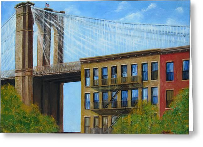Leonardo Ruggieri Greeting Cards - Brooklyn  Bridge Greeting Card by Leonardo Ruggieri