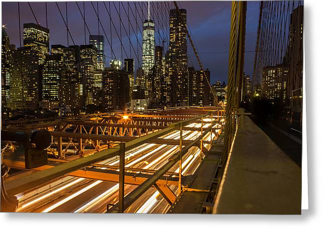 World Trade Centre Greeting Cards - Brooklyn Bridge Greeting Card by Martin Newman