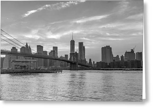 Brooklyn Bridge Park Greeting Cards - Brooklyn Bridge Monochrome Panoramic Greeting Card by Scott McGuire