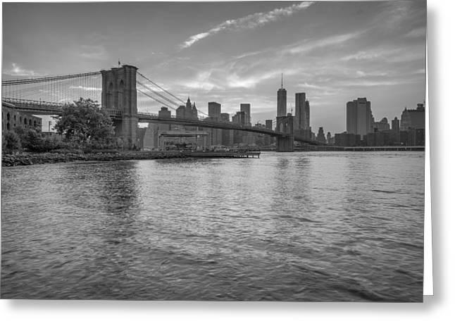Brooklyn Bridge Park Greeting Cards - Brooklyn Bridge Monochrome Greeting Card by Scott McGuire