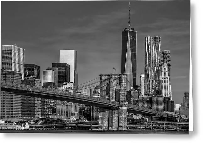Brooklyn Bridge New York City Sunrise Bw Greeting Card by Susan Candelario