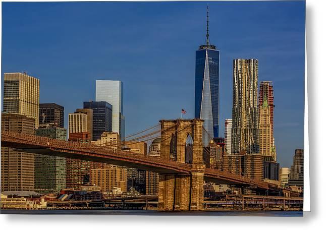 Sunrise Greeting Cards - Brooklyn Bridge New York City Sunrise Greeting Card by Susan Candelario