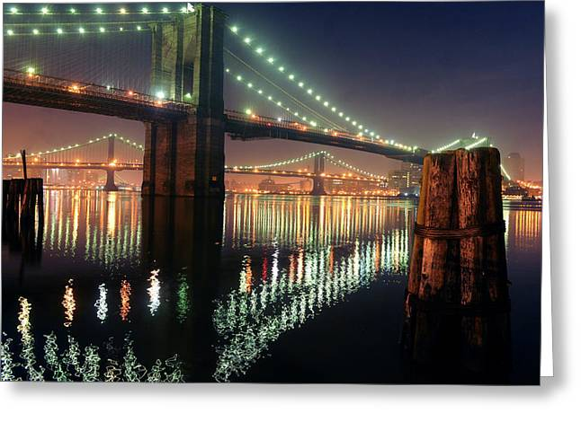 Mike Lindwasser Photography Greeting Cards - Brooklyn Bridge Night Greeting Card by Mike Lindwasser Photography