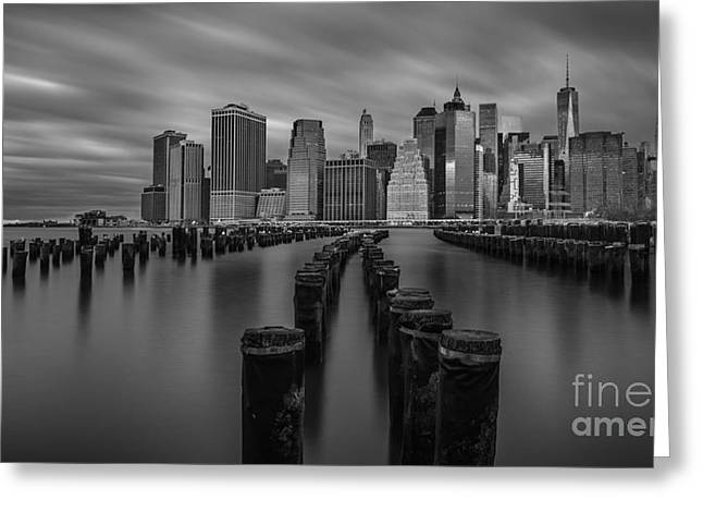 Boats In Water Greeting Cards - Brooklyn Bridge Park LE BW Wide Crop Greeting Card by Michael Ver Sprill