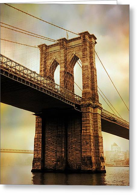 Famous Bridge Greeting Cards - Brooklyn Bridge Perspective Greeting Card by Jessica Jenney