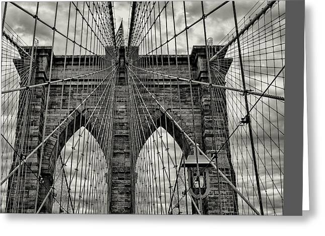 White River Scene Greeting Cards - Brooklyn Bridge Greeting Card by Stephen Stookey