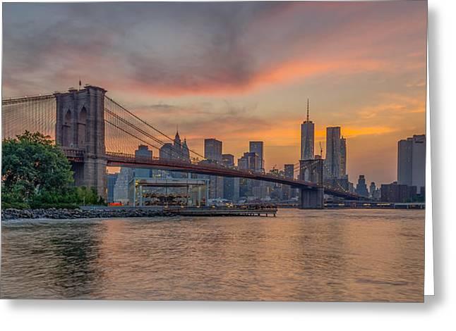 Brooklyn Bridge Park Greeting Cards - Brooklyn Bridge Summer Sunset Greeting Card by Scott McGuire