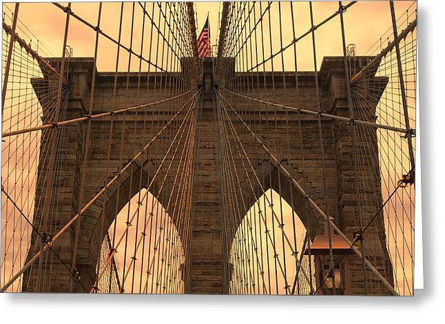 Famous Bridge Greeting Cards - Brooklyn Bridge Sunset Greeting Card by Stephen Stookey