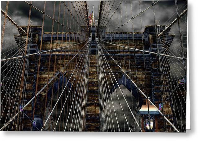 River Scenes Greeting Cards - Brooklyn Bridge - Surreal Greeting Card by Stephen Stookey