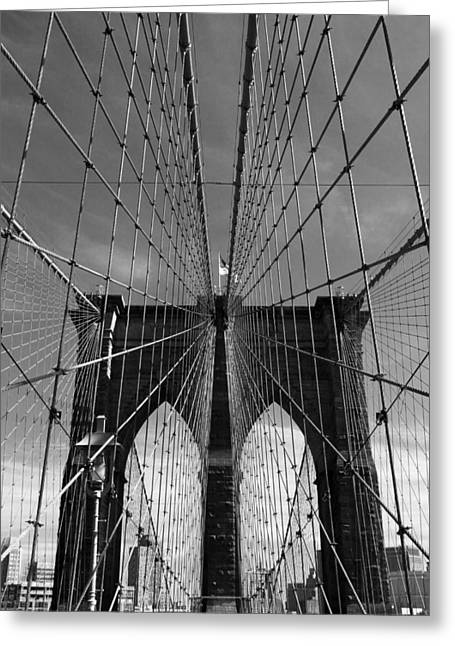 Famous Bridge Greeting Cards - Brooklyn Bridge Tones Greeting Card by Jessica Jenney