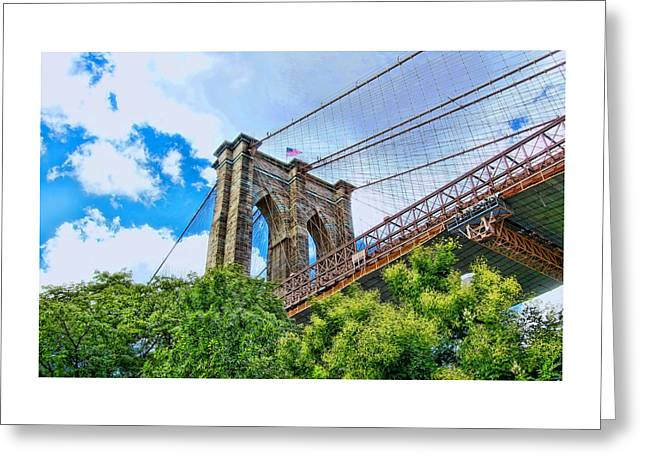 River View Greeting Cards - Brooklyn Bridge Tower Greeting Card by Allen Beatty