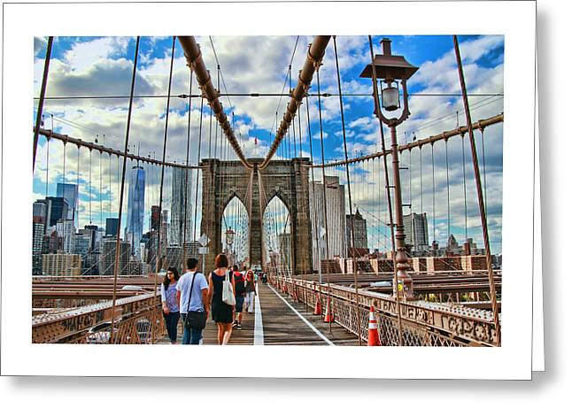 River View Greeting Cards - Brooklyn Bridge Walkway Greeting Card by Allen Beatty