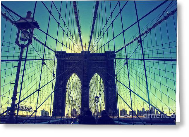 Print Greeting Cards - Brooklyn Bridge Wide Angle Greeting Card by Nishanth Gopinathan