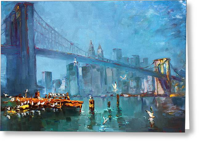 Scape Greeting Cards - Brooklyn Bridge Greeting Card by Ylli Haruni