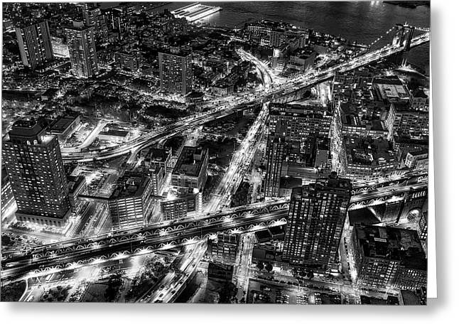 Brooklyn Nyc Infrastructure Bw Greeting Card by Susan Candelario