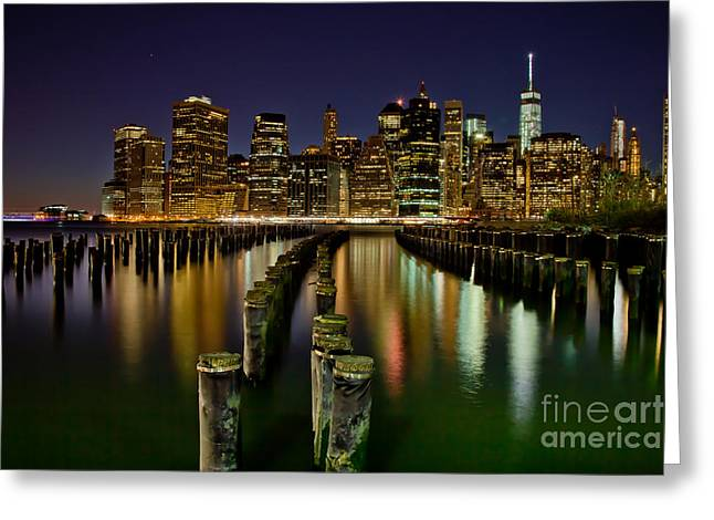 Famous Photographers Greeting Cards - Brooklyn Pier At Night Greeting Card by Az Jackson