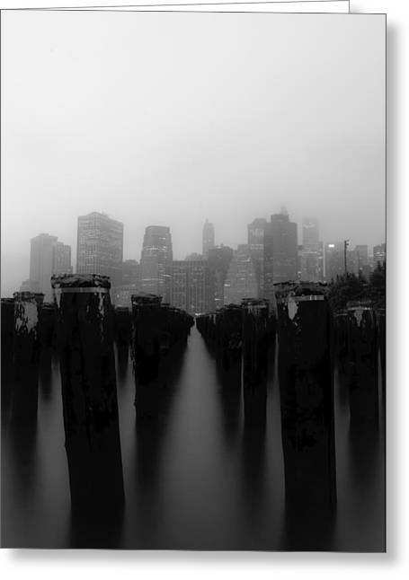 Brooklyn Pilings Greeting Card by Jose Vazquez
