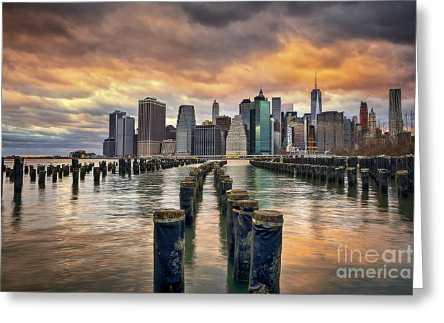 Ver Sprill Photographs Greeting Cards - Brooklyn Pilings   Greeting Card by Michael Ver Sprill