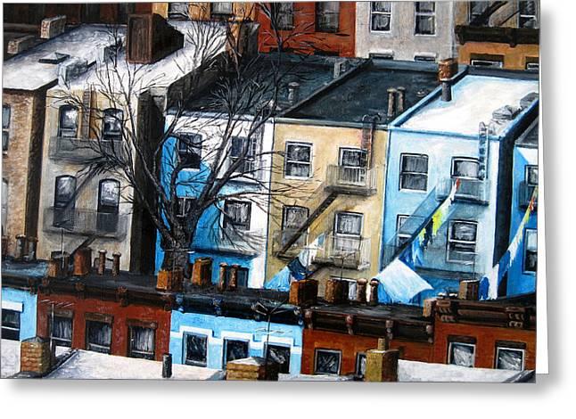 Leonardo Ruggieri Greeting Cards - Brooklyn Rooftops Greeting Card by Leonardo Ruggieri