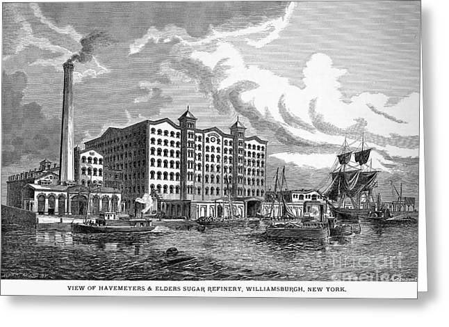 1876 Greeting Cards - Brooklyn: Sugar Refinery Greeting Card by Granger