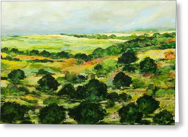Impressionist Greeting Cards - Broom Croft Greeting Card by Allan P Friedlander