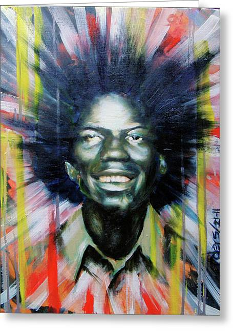 Self Discovery Paintings Greeting Cards - Brother Black... MCMLXXV Greeting Card by Brandon Coley