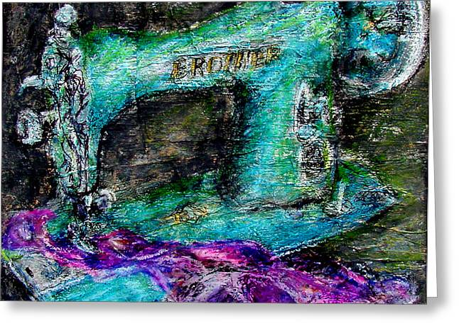 Cloth Pastels Greeting Cards - Brother Machine Greeting Card by Diana Ludwig