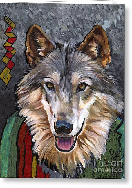 Brother Wolf Greeting Card by J W Baker
