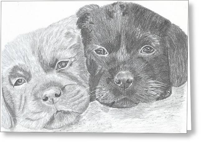 Brothers Greeting Card by DebiJeen Pencils