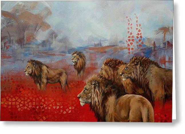 Recently Sold -  - Lions Greeting Cards - Brothers in Arms Greeting Card by Cynthia House