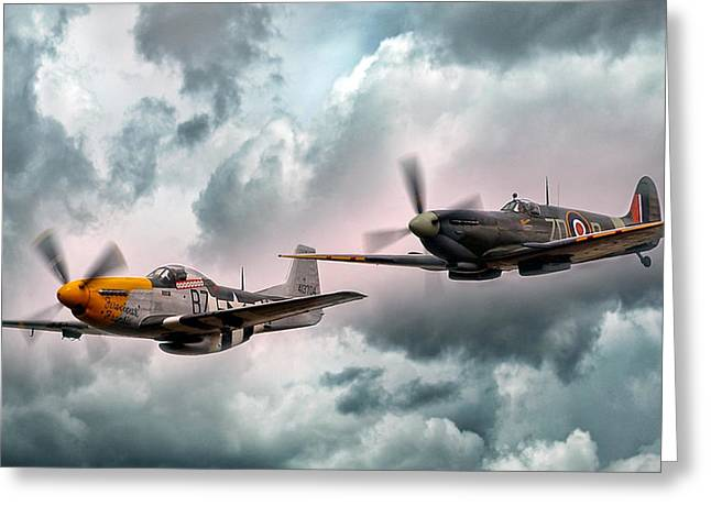 Brothers In Arms Greeting Card by Peter Chilelli