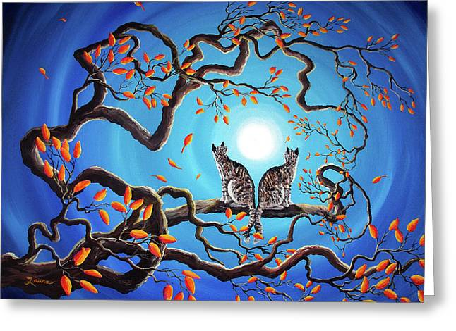 Surreal Landscape Greeting Cards - Brothers Under a Blue Moon Greeting Card by Laura Iverson