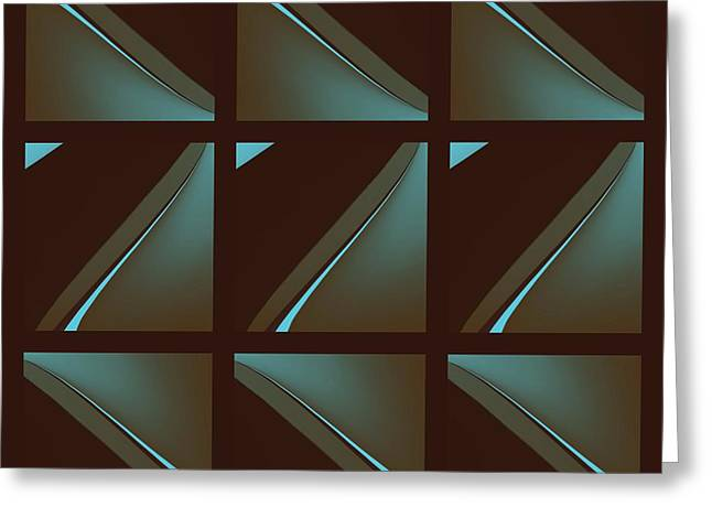Geometric Digital Art Tapestries - Textiles Greeting Cards - Brown and Blue Greeting Card by Suzi Freeman