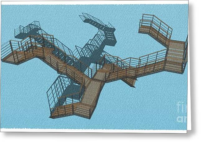 Brown And Cyan Stair 34 Architecture For Architects Greeting Card by Pablo Franchi
