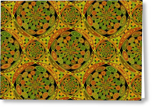 Brown And Green Circles Greeting Card by Gaspar Avila