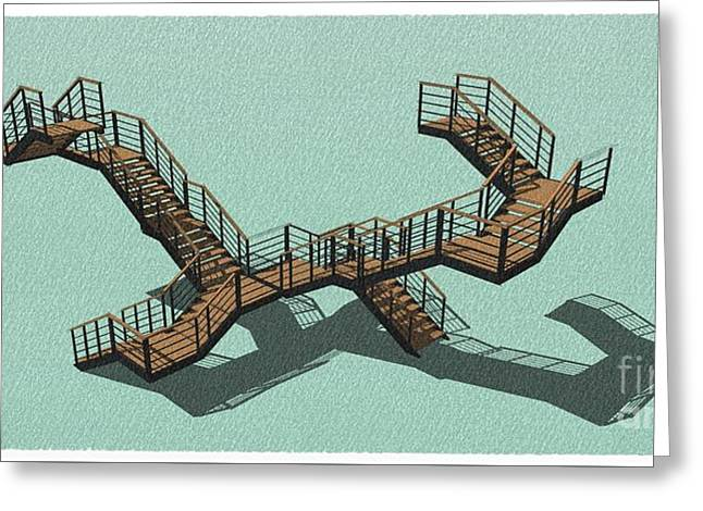 Brown And Green Stair 35 Home Decoration Office Decoration Greeting Card by Pablo Franchi