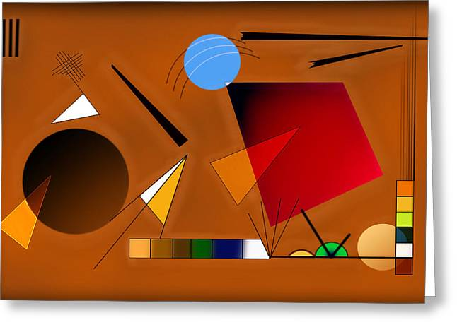 Layers Greeting Cards - Brown and Red Greeting Card by Peter Leech