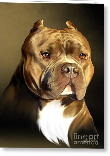 Brown And White Pit Bull By Spano Greeting Card by Michael Spano