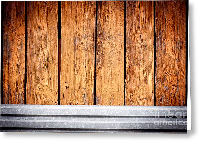 Brown Boards And Sheet Metal Texture Abstract  Greeting Card by Arletta Cwalina