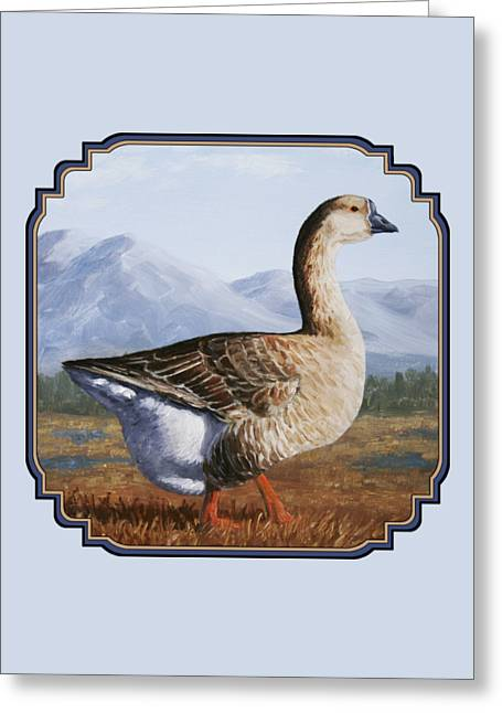 Geese Paintings Greeting Cards - Brown Chinese Goose Greeting Card by Crista Forest