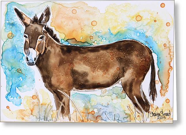 Pen And Paper Greeting Cards - Brown Donkey Greeting Card by Shaina Stinard